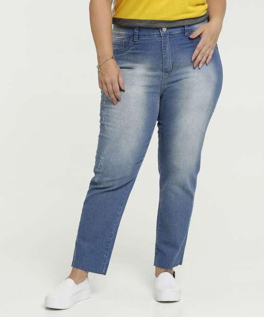 Image_Calça Feminina Jeans Cintura Alta Puídos Plus Size Marisa