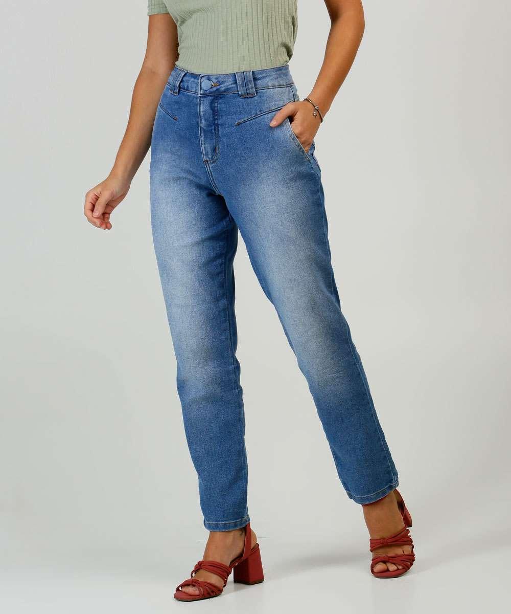 Calça Jeans Reta Feminina Bolsos Biotipo