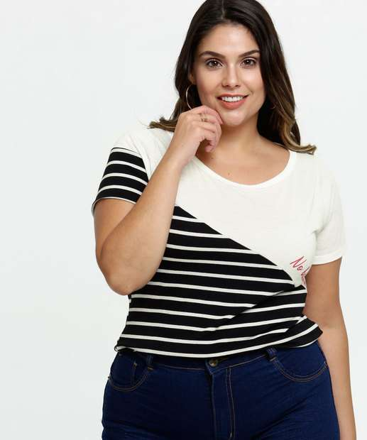 Image_Blusa Feminina Recorte Listrado Plus Size