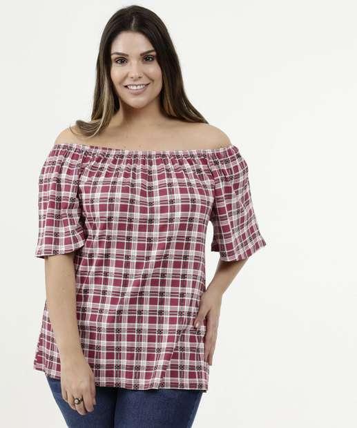 Image_Blusa Feminina Estampa Xadrez Ombro a Ombro Plus Size Luktal