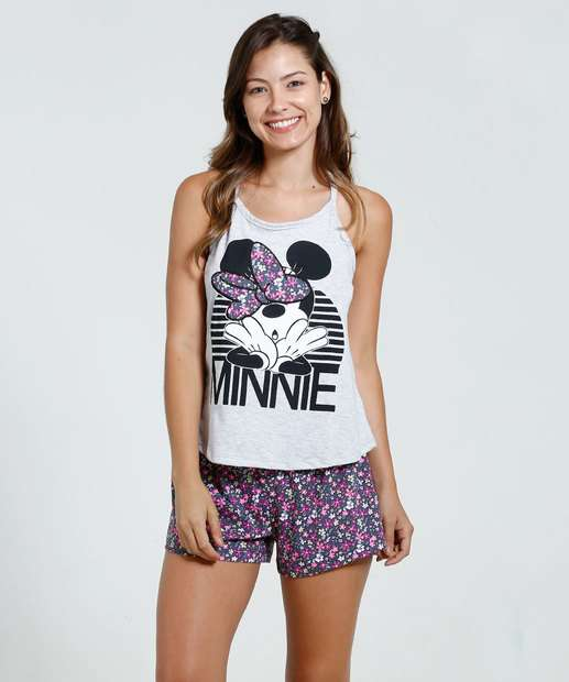 Image_Short Doll Feminino Estampa Minnie Flores Disney