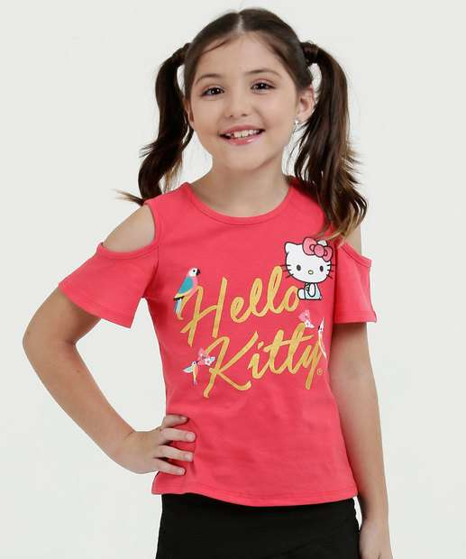 Image_Blusa Infantil Open Shoulder Manga Curta Hello Kitty Sanrio