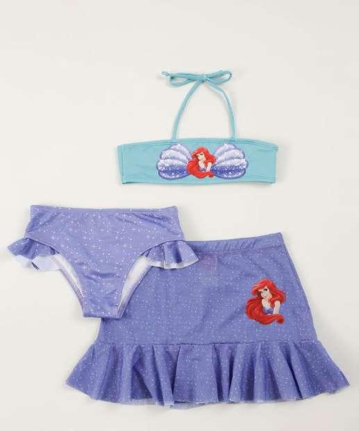 Image_Biquíni Infantil Kit 3 Peças Princesa Ariel