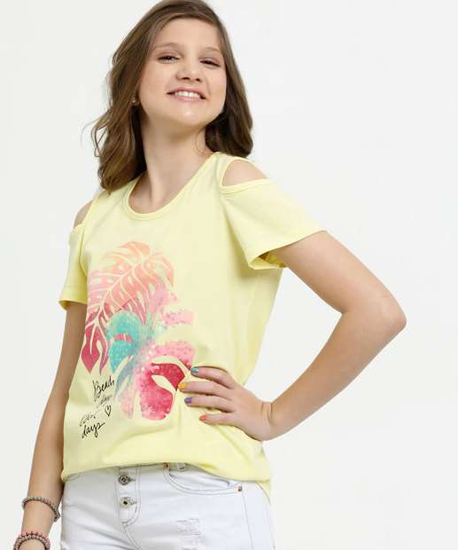 Image_Blusa Juvenil Open Shoulder Estampa Frontal Manga Curta Marisa