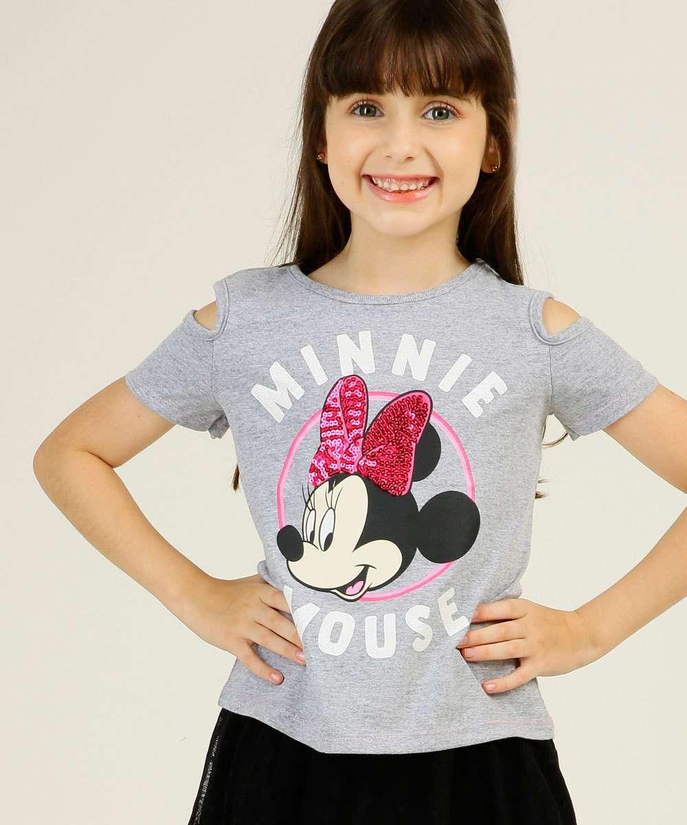 Blusa Infantil Open Shoulder Minnie Disney Tam 4 a 10