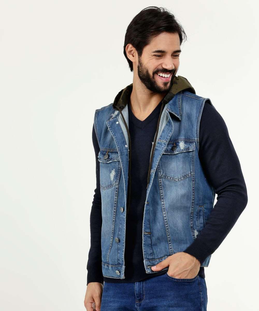 Colete Masculino Jeans Destroyed Capuz Razon