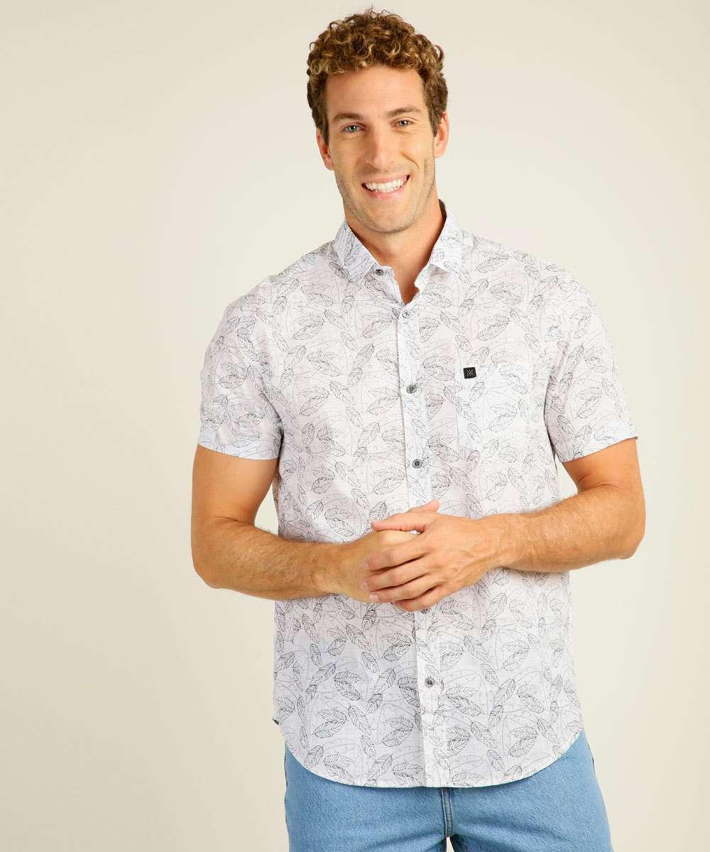 Camisa Masculina Estampa Folhas Manga Curta