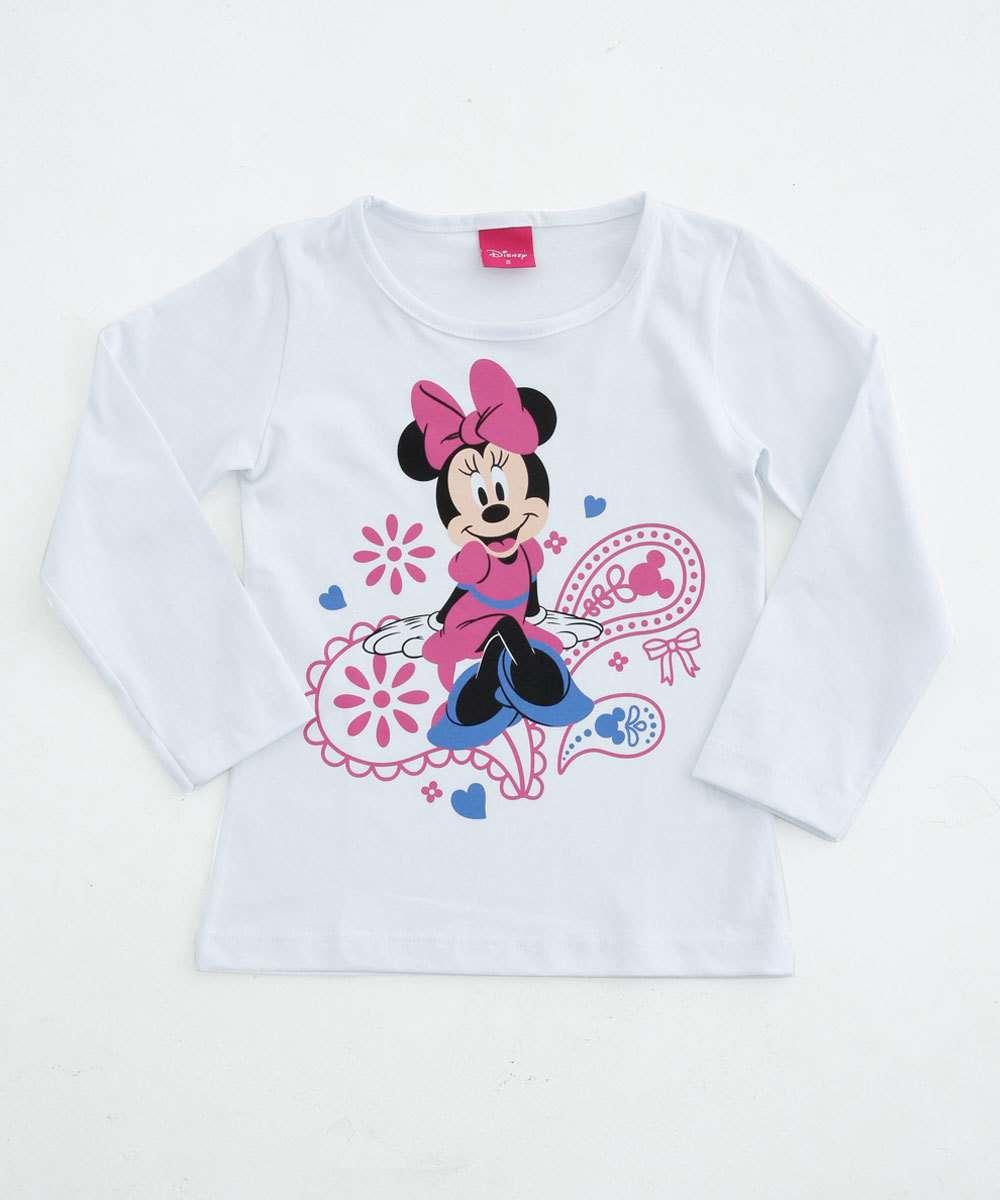 Blusa Infantil Manga Longa Estampa Minnie Disney