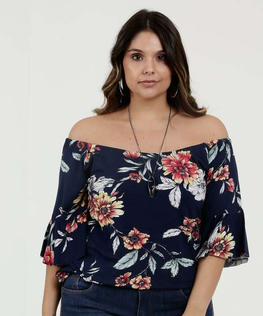 Image_Blusa Feminina Ombro a Ombro Estampa Floral Plus Size