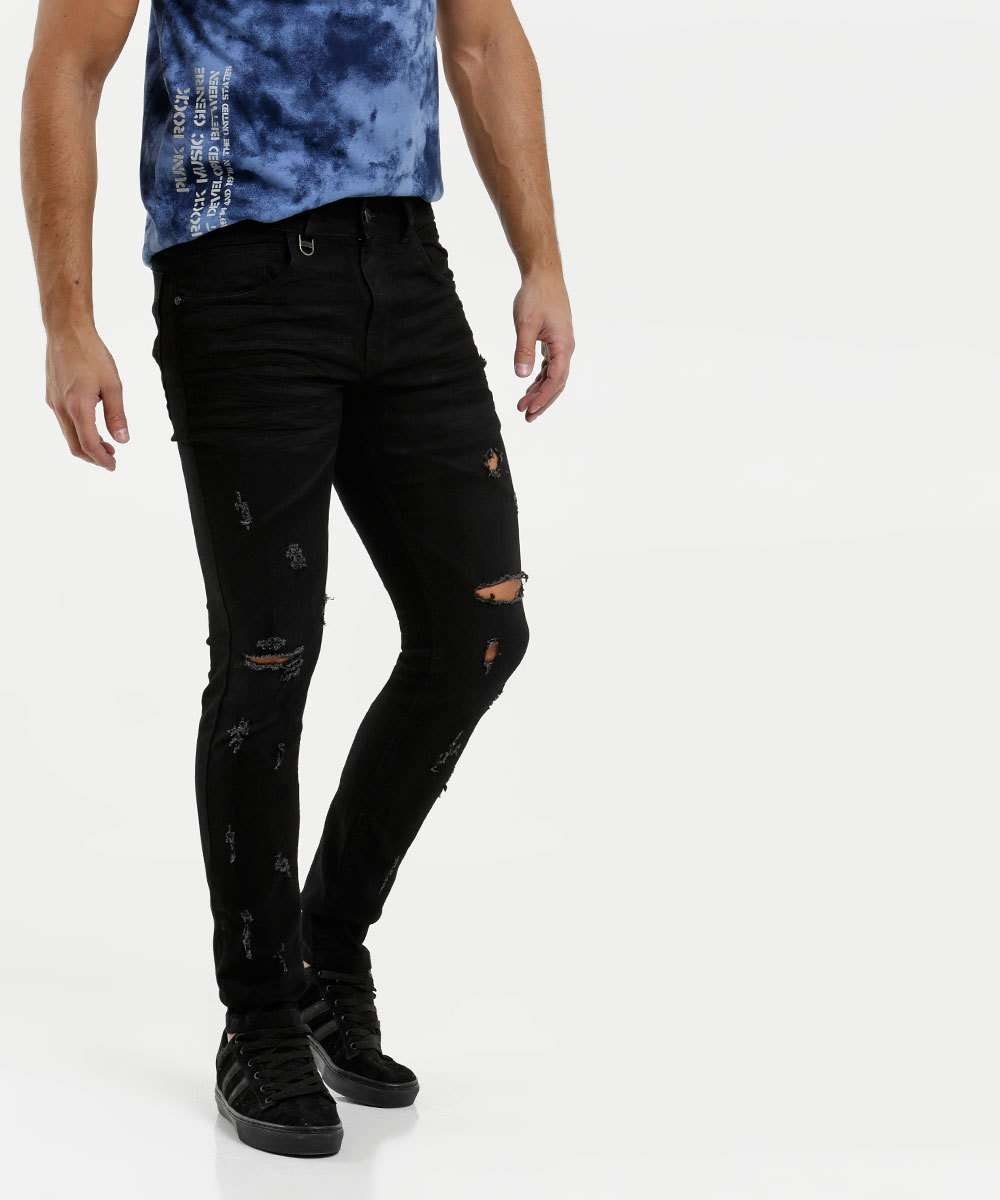 Calça Masculina Jeans Skinny Destroyed Rock & Soda