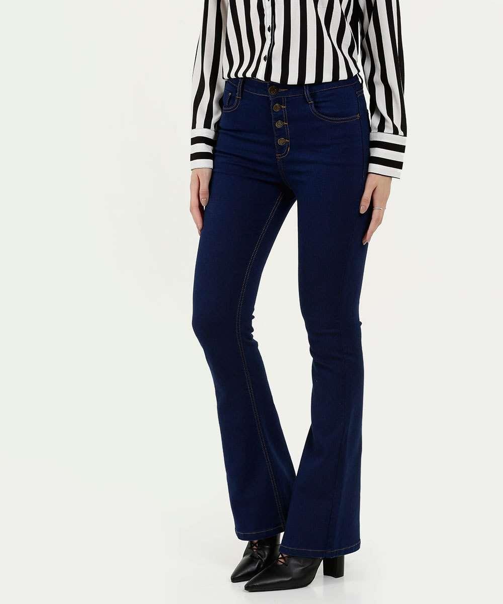 Calça Feminina Jeans Stretch Botões Flare Marisa