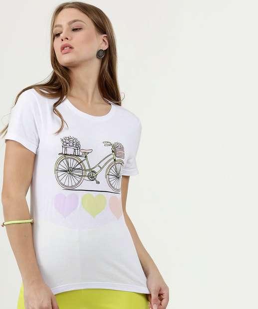 Image_Blusa Feminina Estampa Bicicleta Manga Curta Marisa