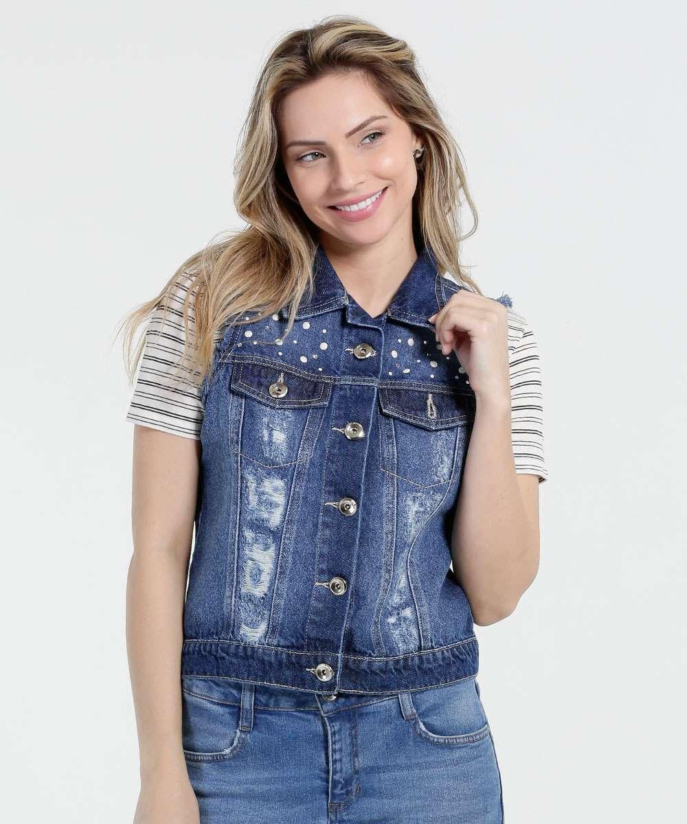 6e72d9e0e3 1  2  3  4  5  6. Compartilhar. adicionar aos favoritos produto favoritado. Colete  Feminino Jeans Strass Destroyed Marisa