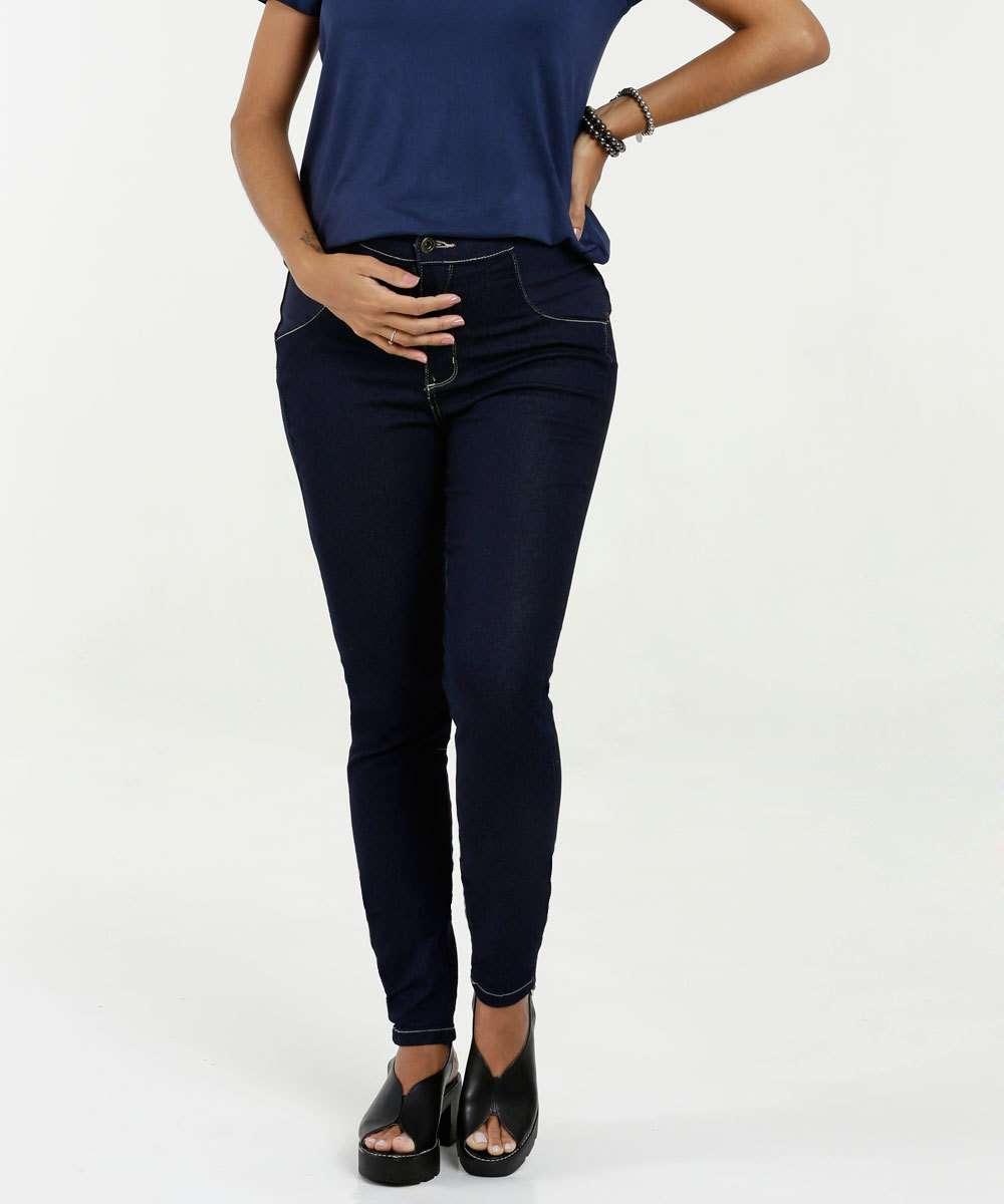 Calça Feminina Jeans Gestante Skinny Razon