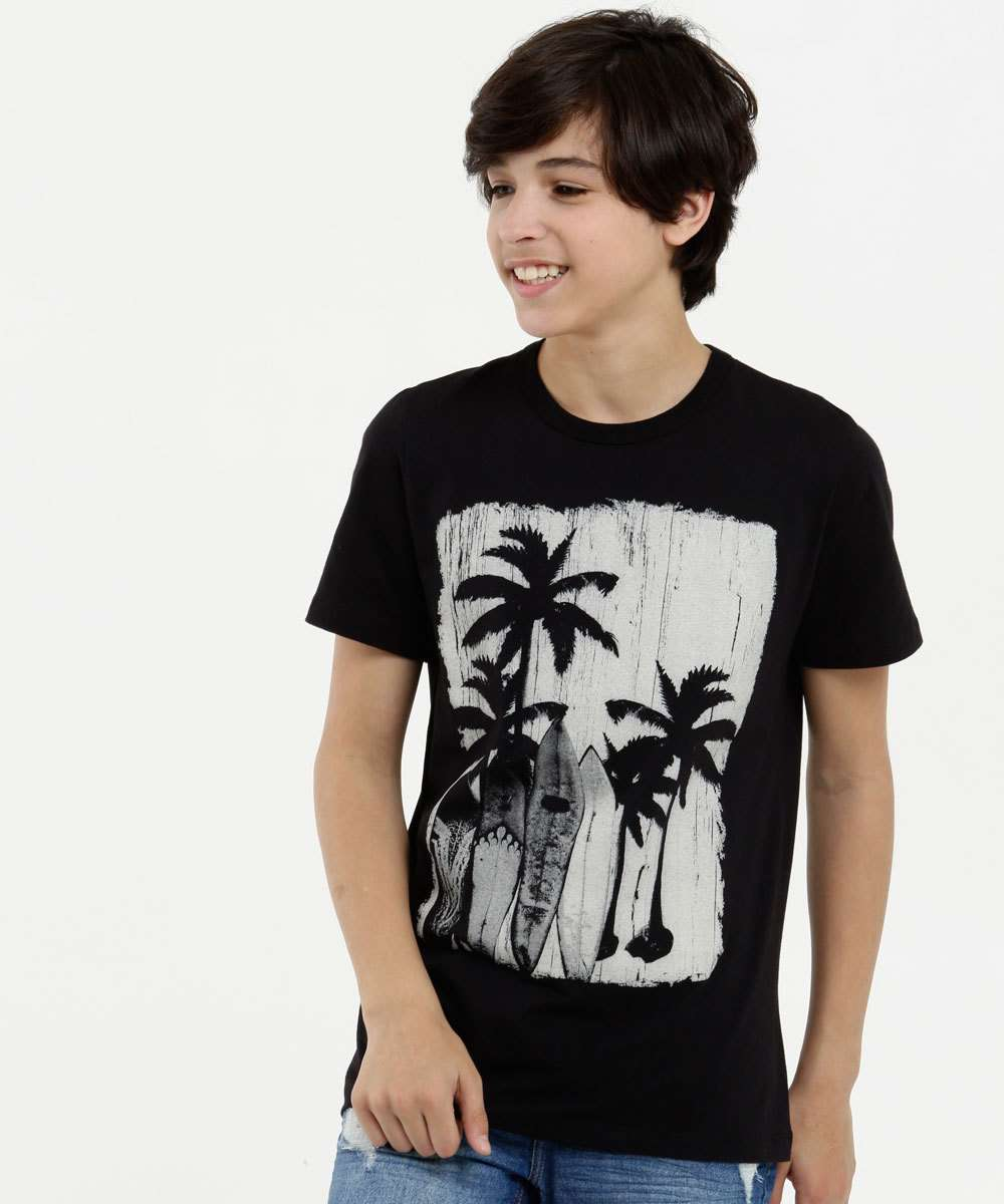Camiseta Juvenil Estampa Coqueiros Manga Curta