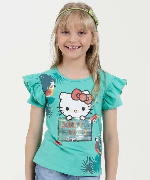 Image_Blusa Infantil Estampa Hello Kitty Paêtes Sanrio