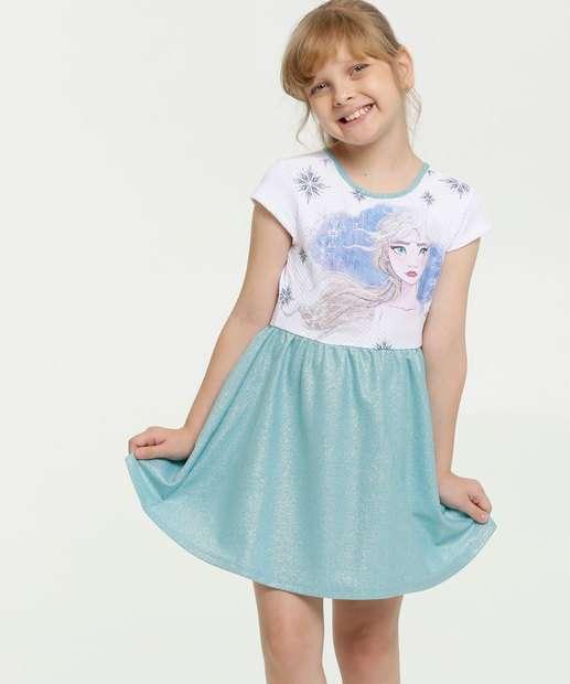 Image_Vestido Infantil Estampa Frozen Lurex Manga Curta Disney