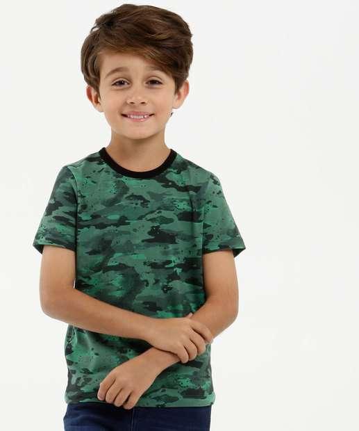 Image_Camiseta Infantil Estampa Camuflada Manga Curta