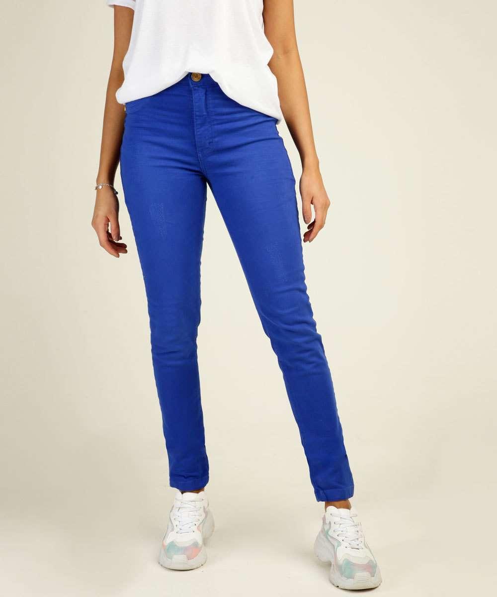 Calça Skinny Feminina Puídos Bolsos Uber Jeans