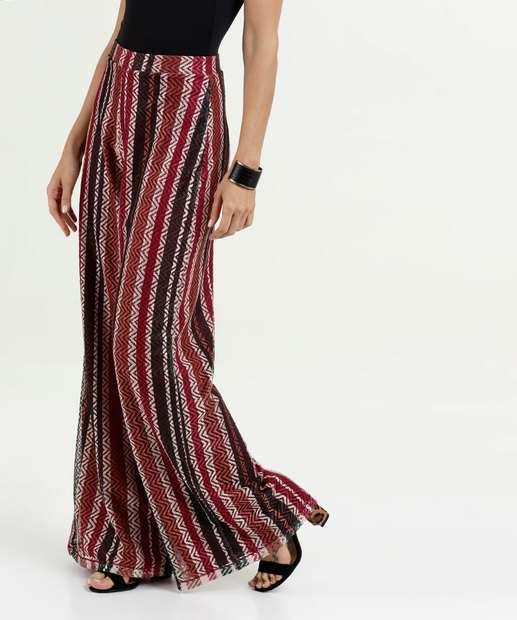 5ec8b6bb77 Calça Feminina Pantalona Devorê Listrada Marisa