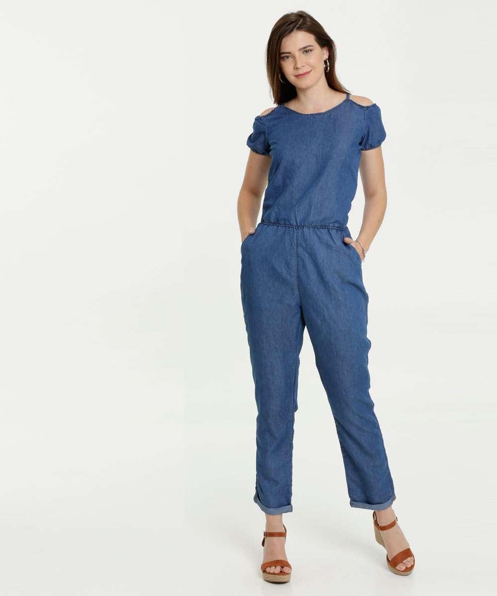 Macacão Feminino Jeans Open Shoulder Manga Curta