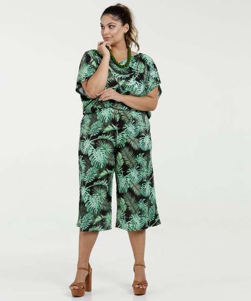 Image_Macacão Feminino Estampa Folhas Pantacourt Plus Size