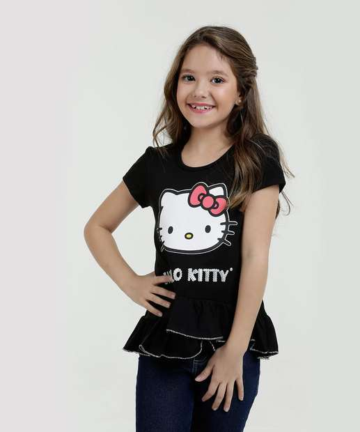 Image_Blusa Infantil Babado Hello Kitty Manga Curta Sanrio