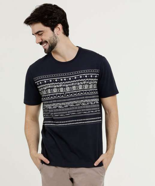 35ad8ba117 Camiseta Masculina Estampa Étnica Manga Curta MR