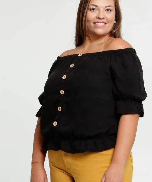 Image_Blusa Feminina Ombro a Ombro Babado Plus Size