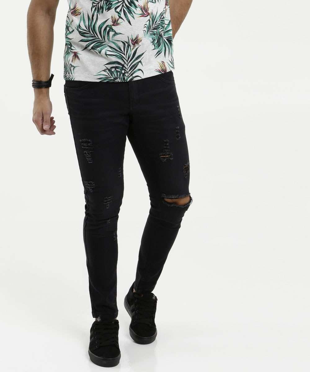 Calça Masculina Jeans Skinny Destroyed Rock & Soda