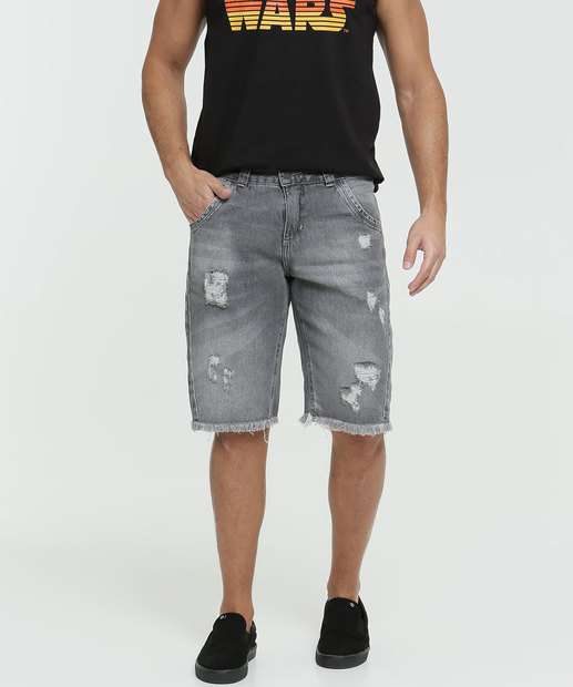 Image_Bermuda Masculina Jeans Destroyed Bolsos Razon