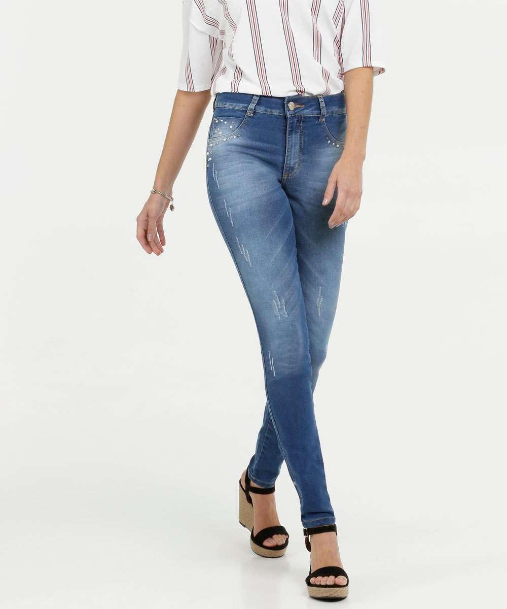 Calça Jeans Skinny Feminina Pérolas Biotipo