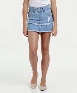 Saia Juvenil Jeans Puídos Marisa