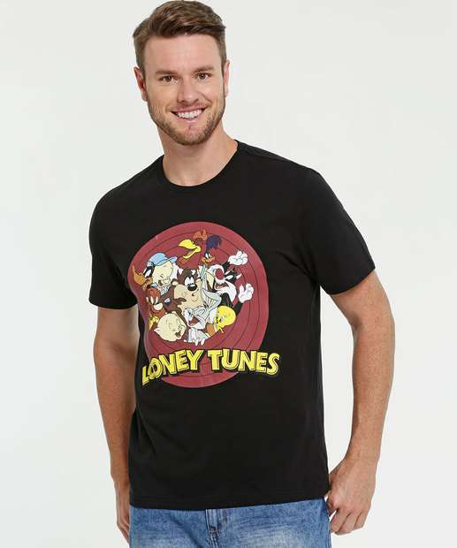 Image_Camiseta Masculina Estampa Frontal Manga Curta Looney Tunes