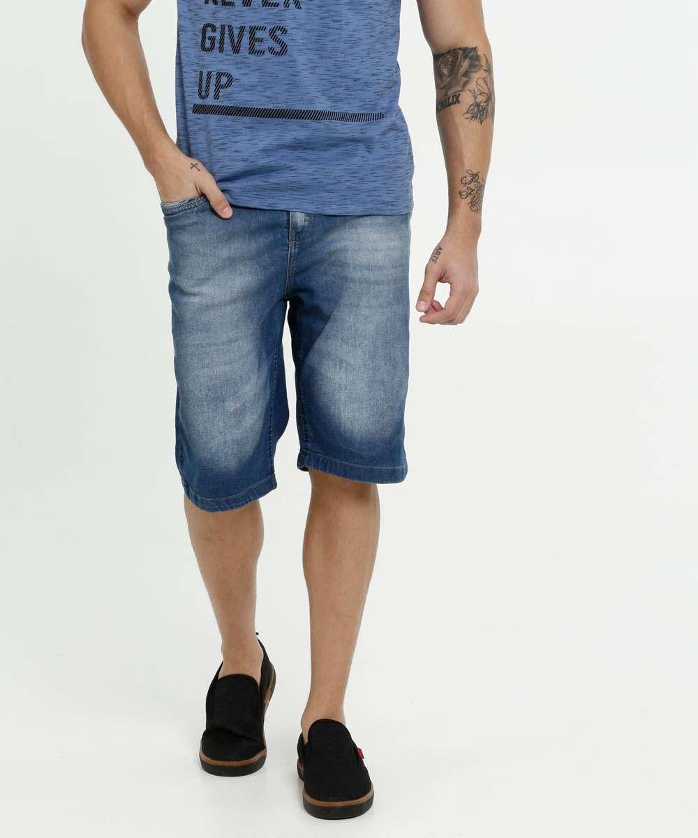 Bermuda Masculina Jeans Bolsos