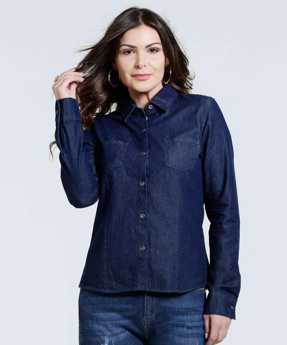 7afc7968ce Camisa Feminina Jeans Bolso Marisa