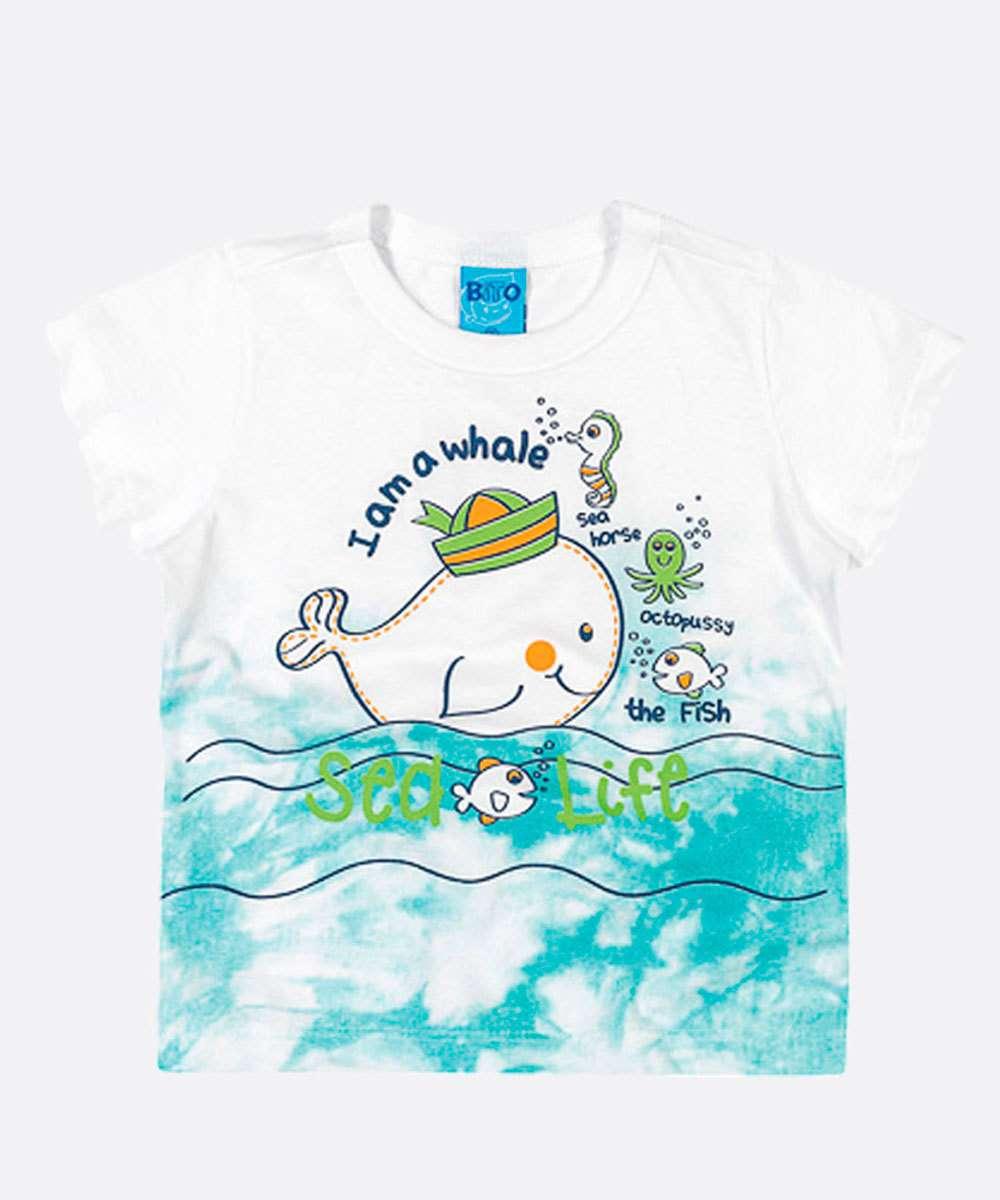 Camiseta Infantil Bebê Estampa Baleia Manga Curta