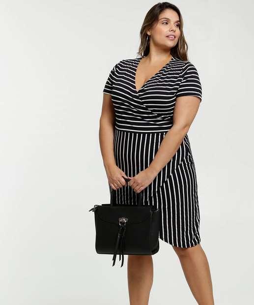 Image_Vestido Feminino Listrado Transpassado Plus Size