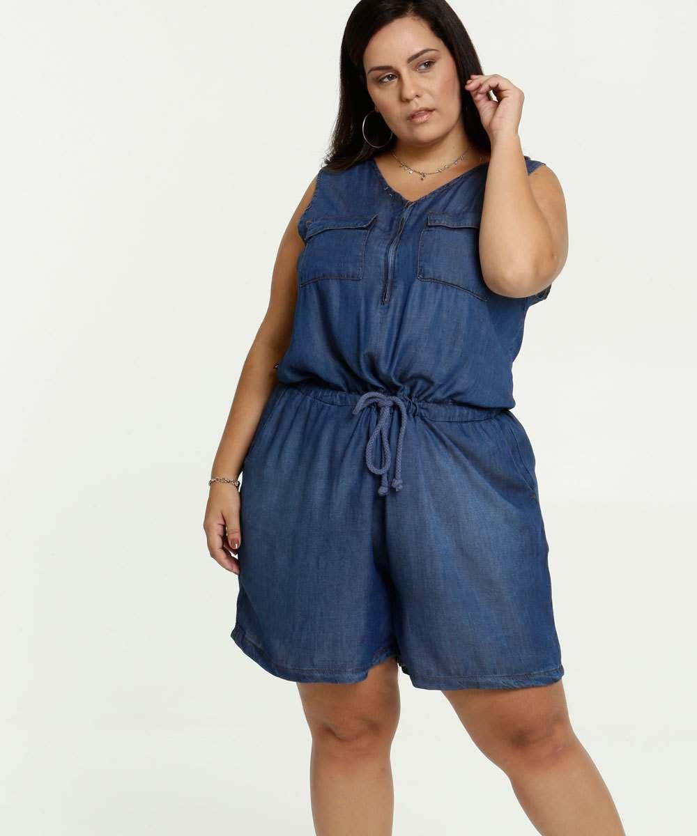 Macaquinho Feminino Jeans Sem Manga Plus Size