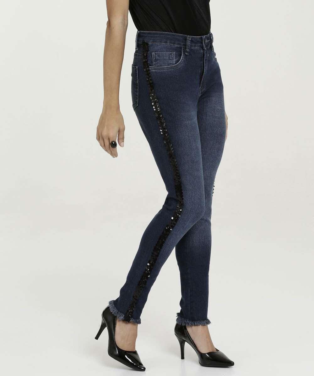 Calça Feminina Jeans Skinny Stretch Paetês Razon