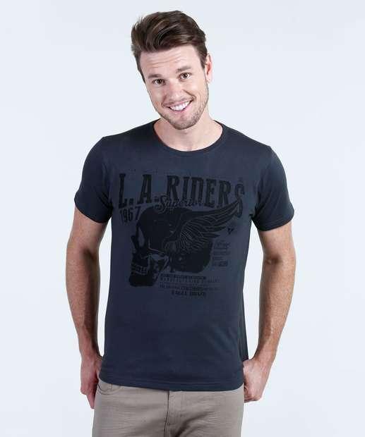 Image_Camiseta Masculina Estampa Caveira Manga Curta Águia Tex