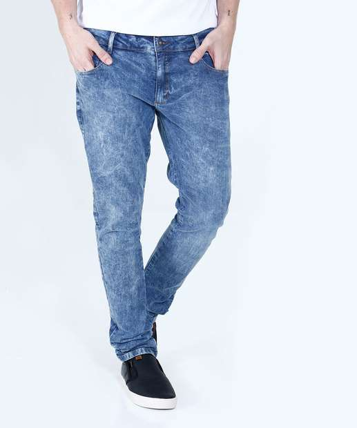 Image_Calça Masculina Jeans Marmorizado Slim Marisa