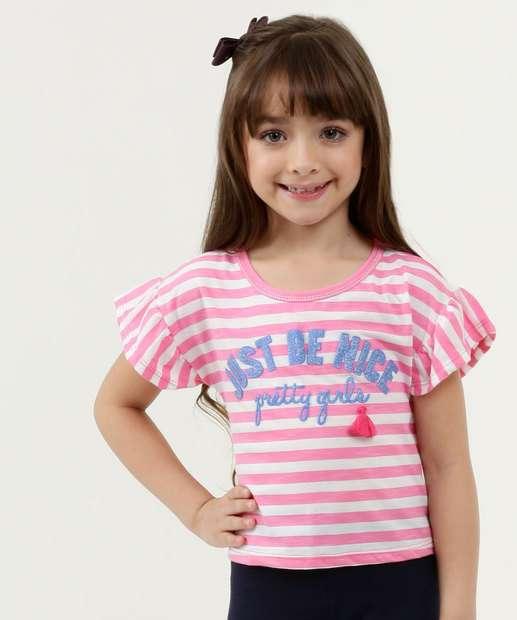 Image_Blusa Infantil Listrada Estampa Frontal Manga Curta