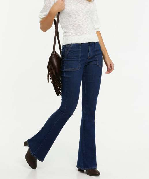 Image_Calça Jeans Flare Bolsos Feminina Marisa