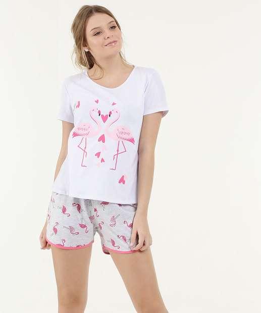 Image_Pijama Feminino Estampa Flamingo Manga Curta Marisa