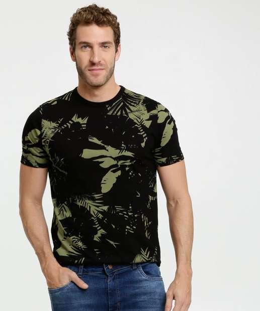 Image_Camiseta Masculina Estampa Folhas Manga Curta