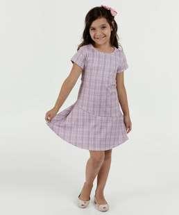 Vestido Infantil Estampa Xadrez Manga Curta Marisa