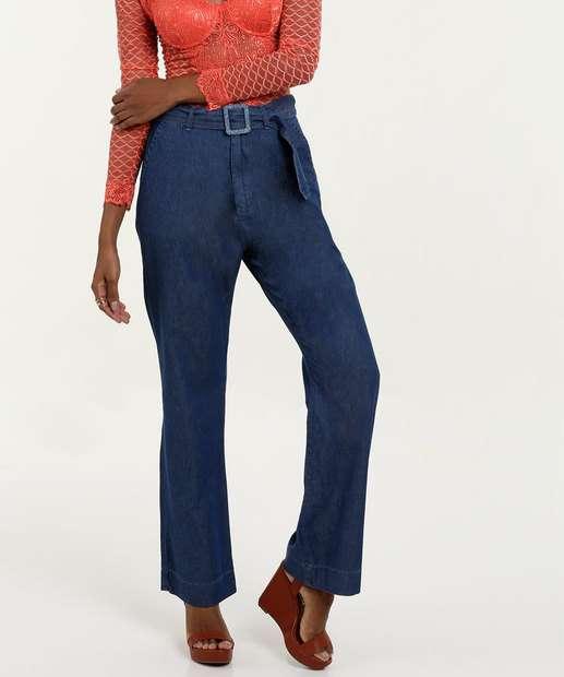 Image_Calça Feminina Jeans Pantalona Cintura Alta Marisa