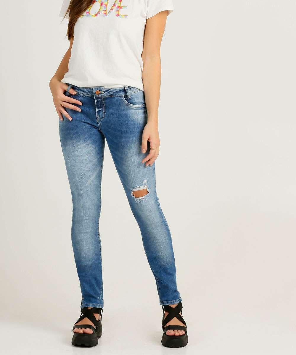 Calça Juvenil Jeans Skinny Destroyed Tam 10 a 16