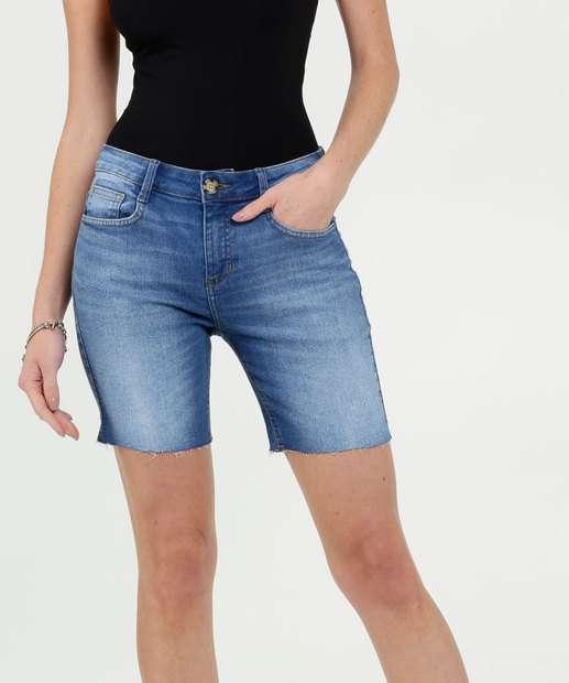 Image_Bermuda Feminina Jeans Stretch Barra Desfiada Marisa